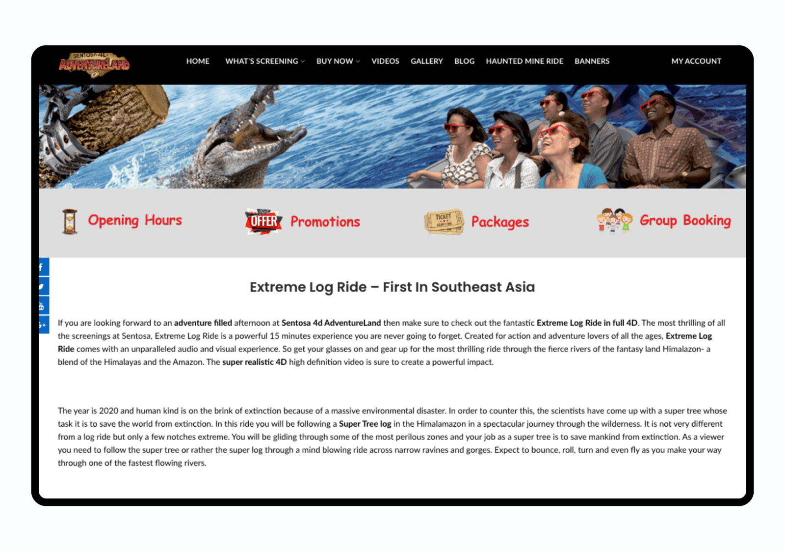 4d theme park website development